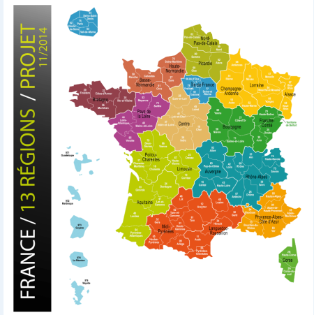 la carte des 13 régions françaises