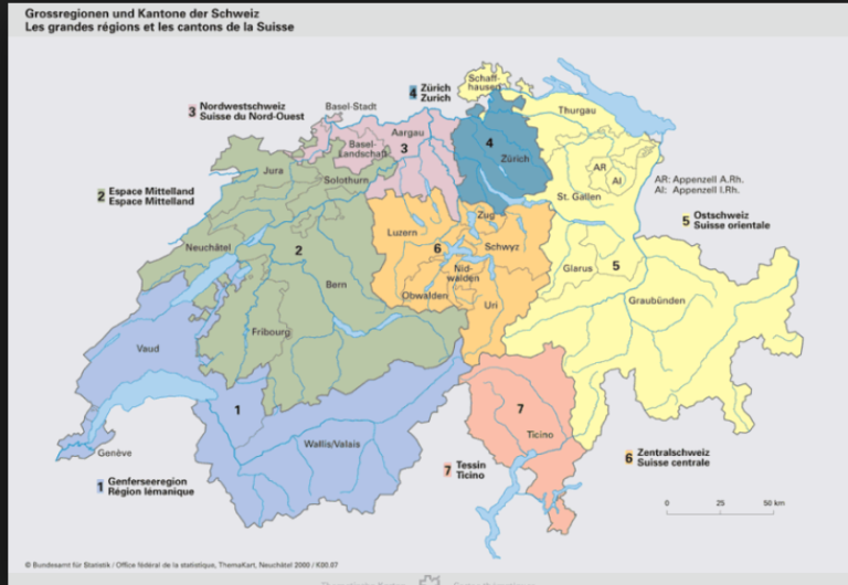 La carte des régions suisses