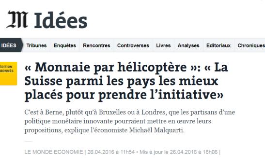 Monnaie hélicoptère - Le Monde