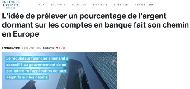 Business Insider - Taux négatifs