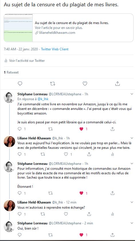 Fil de twitter avec Stéphane Lormeau