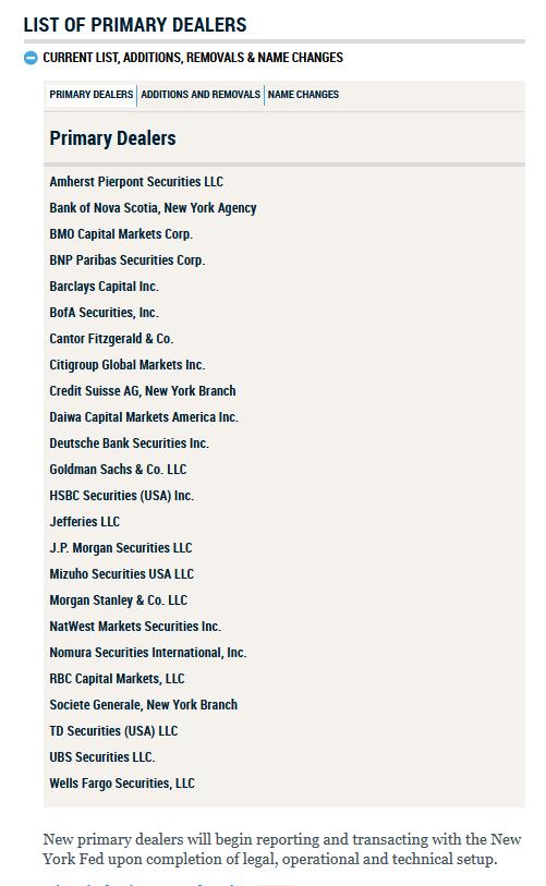 Liste des primary dealers us 2020