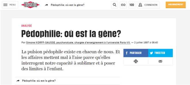 Libération - Pédophilie