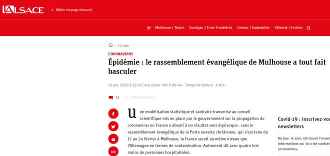 L'Alsace du 13 avril 2020