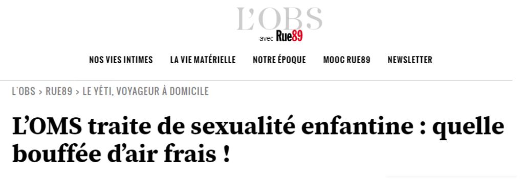 ONU / OMS : une « éducation sexuelle » explosive pour révolutionner l'humain ! Dossier.