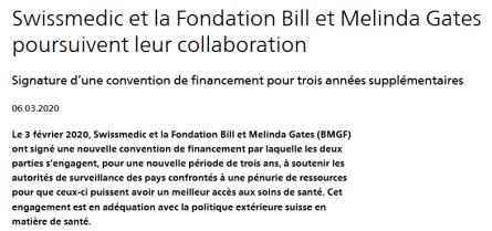 Swissmedic partenaire de Bill Gates