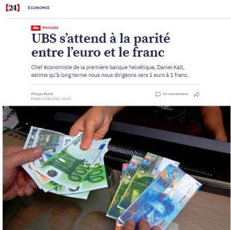 UBS - parité franc-euro